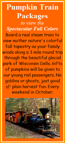 Pumpkin Train Scenic Fall Color Tours - Stay at Meadowbrook Resort & DellsPackages.com in Wisconsin Dells